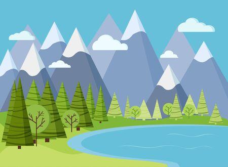 Scène de paysage de montagne de printemps ou d'été avec de l'eau du lac, des arbres verts, des épinettes, des nuages, de l'herbe, du ciel dans un style plat de dessin animé. Illustration de fond nature vecteur été.