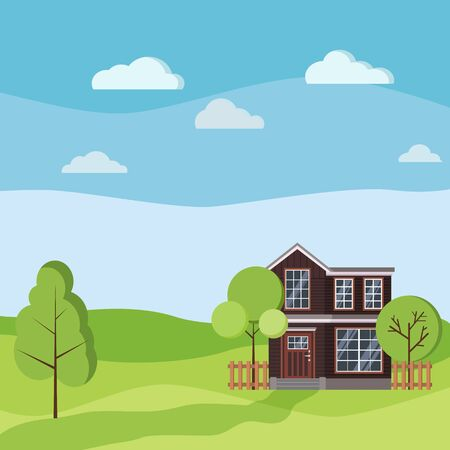 Summer or spring landscape with rural two storey house with wooden fences, green trees, grass, clouds, road in cartoon flat style. Vector landscape background illustration.