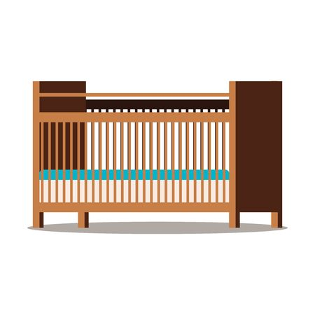 Wooden brown cot with two mattress. Cartoon style flat design icon isolated on white background. Vector illustration. Childrens room interior design element.