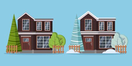 Set of isolated country rural two storey farm winter and summer houses with fences, snowdrift and trees in flat cartoon style. Vector illustration, detailed house icon isolated on blue background.
