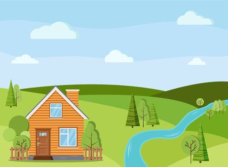 Scène de paysage de rivière d'été ou de printemps avec maison de ferme rurale avec cheminée, clôtures, arbres verts, épicéas, champs, nuages dans un style cartoon plat. Illustration de fond de vecteur de nature d'été.