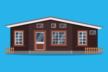 Isolated scandinavian rural wood country house with fences in flat cartoon style. Vector illustration of detailed cottage house icon isolated on blue background.