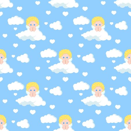 Vector romantic seamless pattern with cute cupid dreaming on white cloud with heart on blue heaven background. Endless texture. Sample background for web, covers, banners, decoration, elegant designs. Ilustração