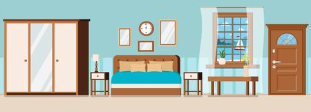 Hotel room with furniture, door, window view of sea landscape with sailboat. Wardrobe with mirror, bed, nightstand, coffe table, watch, alarm, lamp, vase, plant. Flat style cartoon vector illustration