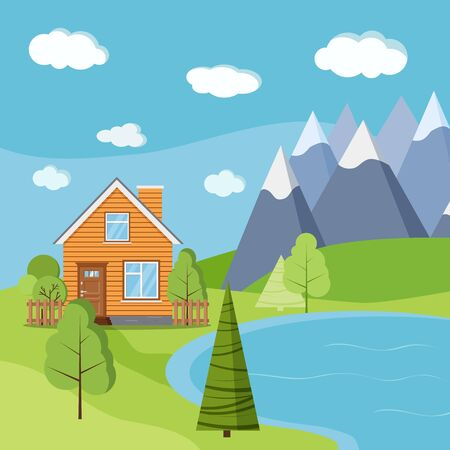 Lake and mountains landscape scene with wooden rural farm house with chimney, green trees, fields, clouds, road in cartoon flat style. Vector summer or spring nature background illustration.