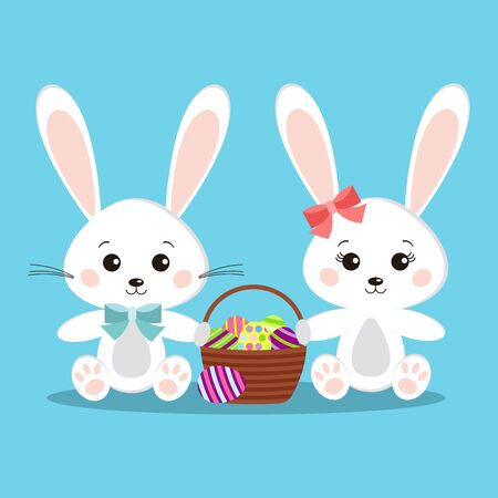 Sweet and cute pair of white bunny rabbits boy and girl in sitting pose with basket easter eggs isolated icon on blue background. Flat cartoon style. Vector clip art character children illustration.