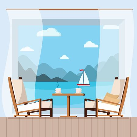 Wooden table, cups of tea or coffee, curtain and chairs on the balcony with seascape. Beach cafe chair with sea on background. View of sea from hotel or restaurant. Flat style vector illustration. Ilustração Vetorial