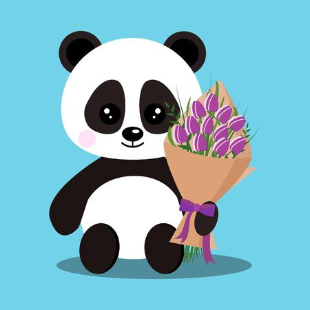 Isolated romantic sweet cute baby panda bear in sitting pose with bouquet of purple tulips in paw. Chinese symbol. Adorable funny character in flat cartoon style. Vector holiday illustration.