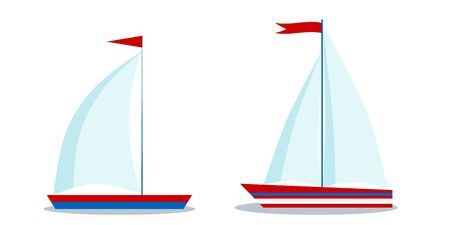 Isolated icons of cartoon style blue and red sailboats with one and two sails on white background. Vector flat design illustration. Children marine graphic design element for logo, web.