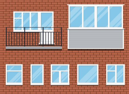 Set of closed plastic pvc windows and a unglazed balcony with metal rails, gazebon sheathed with siding isolated on a red brick wall background. Cartoon flat style vector illustration.