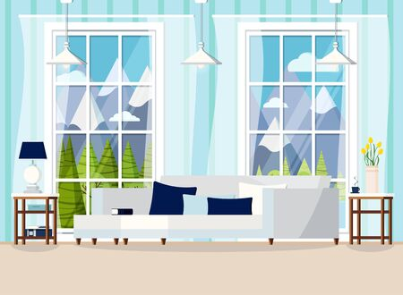 Cozy living room home interior background with sofa, lamp, two nightstands, cushions, cup, books, vase with tullips, window with summer mountain landscape in cartoon flat style. Vector illustration. Illustration