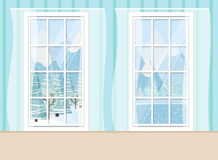 Cozy living room home interior scene with two whiye plastic pvc panoramic windows with winter mountain and lake landscape in cartoon flat style. Vector backdrop illustration.