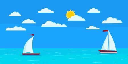Cartoon flat design style sea landscape with two sailboats, clouds, blue sky, sun, calm ocean. Vector summer day banner illustration for tourist, traveling, yachting and holiday background.