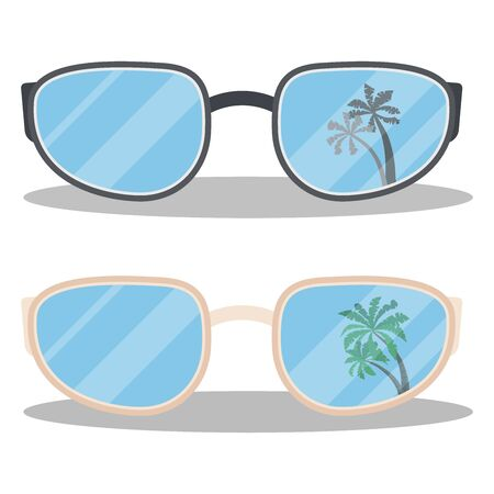 Set of black and beige summer sunglasses with palms reflection isolated on white background. Vector illustration in cartoon flat style. Graphic design element.