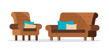 Isolated icons of brown color leather soft sofa and armchair set isolated on white background with decorative cushions. Collection home cabinet furniture. Vector illustration. Flat cartoon design.