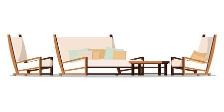 Vector illustration de meubles de zone de porche design plat. Cour de jardin confortable de style dessin animé, meubles de salon - deux fauteuils avec coussins, table basse en bois, canapé moelleux isolé sur fond blanc.