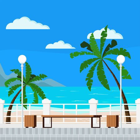 Vector flat cartoon style illustration of blue sea with quay, mountains, clouds, palms, bench, treshcan, street lantern, paving slabs, sand - beach summer background. Beautiful seacoast backdrop. Stock Illustratie