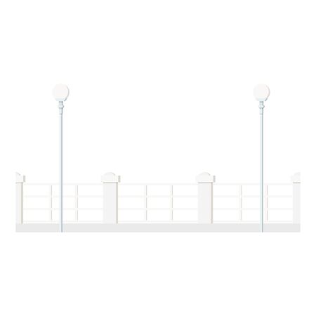Flat design cartoon style image of a long row of white decorative metal street fence with round streetlight lanterns isolated on white background. City exterior element. Vector illustration.