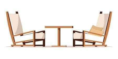 Illustration de meubles de zone de porche de conception plate de style de dessin animé de vecteur. Image clipart : cour de jardin confortable, meubles de salon - deux fauteuils avec coussins, table basse isolée sur fond blanc.