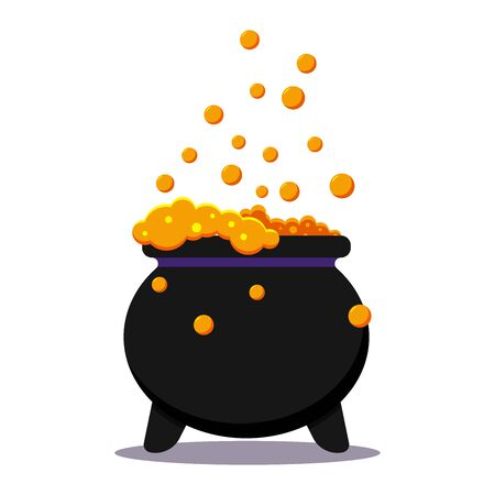 Halloween witches black cauldron with poison potion isolated on white background. Icon image of magical boiling and bubbling pot. Flat cartoon style vector illustration. Ilustracja