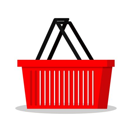 Simple template of red shopping basket. Flat style supermarket store basket icon isolated on white background. Cartoon design element vector Illustration. Good for web and mobile design.