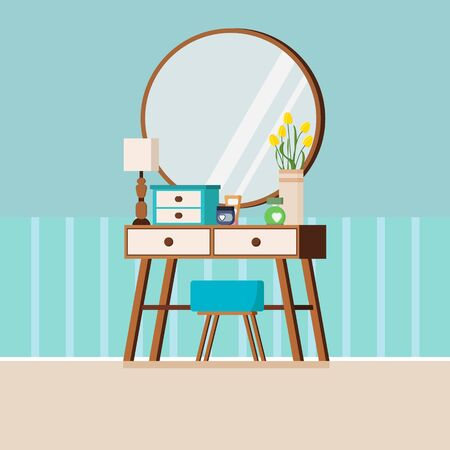 Vintage woman wood dressing table with mirror, chair, lamp, vase with tulips, box and cosmetics. Flat style vector illustration of interior background.