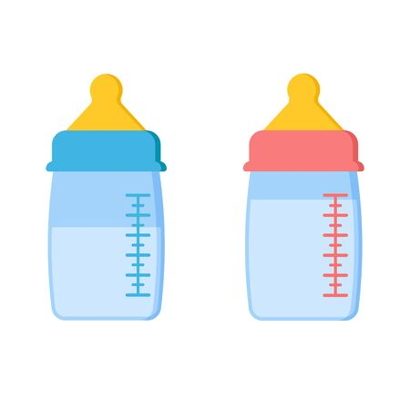 Icon set of scalable plastic or glass baby bottles with milk or water blue for boy and pink for girl isolated on white background. Vector cartoon style illustration. Flat design.