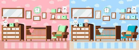 Set cozy baby room interior pink for girl and blue for boy with cot, lamp, bear rabbit toys, bodysuit, carpet, alarm clock, chest of drawers in cartoon flat style. Vector interior scene illustration.