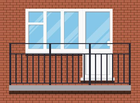 Closed white plastic pvc not glazed balcony with black metal balcony rail, front view. isolated on a red brown brick wall background. Cartoon style flat design. Vector building exterior illustration.
