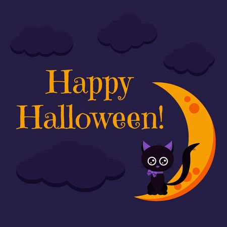 Happy Halloween greeting card with sweet and cute character black cat with purple bow sitting on the moon on dark night background. Vector cartoon flat style holiday background illustration.