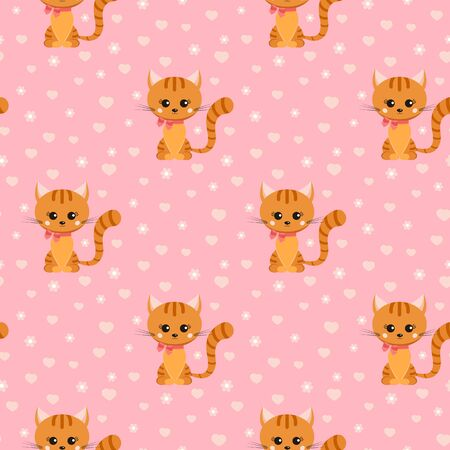 Vector seamless pattern with smiling little ginger striped cat with pink bow on its neck, hearts, flowers on pink background. Endless texture. Sample background for web, covers, banners, decoration