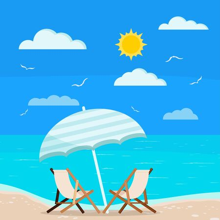 Vector illustration of summer holiday sea view: two wooden beach chaise longues with blue beach umbrella on coastline, sun, clouds and sea gull on image. Flat design cartoon style seascape background.