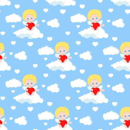 Vector seamless romantic pattern with cute cupid sitting on clouds with red heart in his arms on blue heaven background. Endless texture. Sample background for web, covers, banners, decorations.