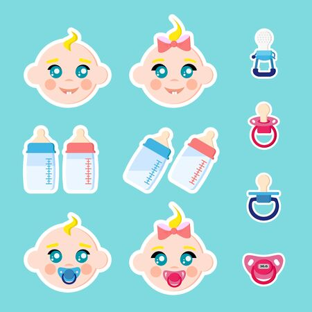 Set of children faces icons, baby bottles with milk, pacifiers baby dummies,nipple thermometer,nibbler. Boy and girl with dummy. Stikers isolated on blue background. Vector illustration. Cartoon flat