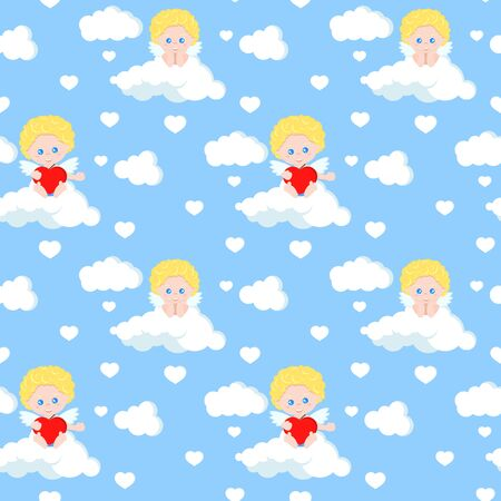 Vector seamless romantic pattern with cute cupid sitting on cloud with red heart on blue heaven background. Endless texture. Sample background for web, covers, banners, decoration, elegant designs. Ilustração