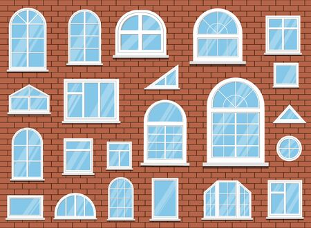 Set of isolated white classic plastic pvc windows on red brick wall background. Vector illustration in flat style.