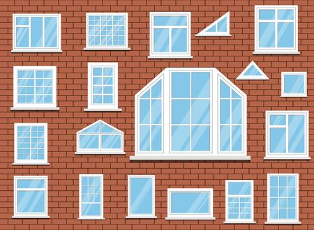 Set of isolated white plastic room windows on red brick wall background. Vector illustration in flat style.