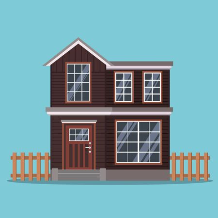 Isolated two-storey country house with a fence in cartoon flat style. Vector background illustration. Vector illustration of cottage detailed house icon isolated on blue background. Иллюстрация