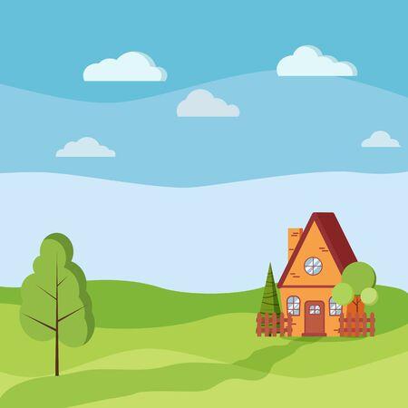 Paysage d'été ou de printemps avec maison de campagne avec clôtures, arbres verts, épicéa, nuages, route dans un style plat de dessin animé. Illustration de fond de paysage de vecteur.