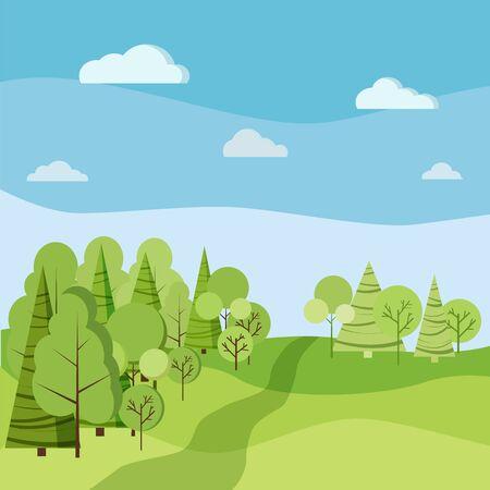 Beau paysage de printemps ou d'été avec des arbres verts, des épinettes, des champs, des nuages dans un style plat de dessin animé. Illustration de fond de vecteur de scène nature.
