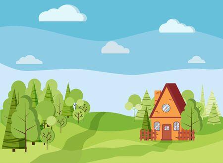 Paysage de printemps ou d'été avec maison de campagne, arbres verts, épicéas, champs, nuages dans un style plat de dessin animé. Illustration de fond de vecteur de scène Summee. Vecteurs