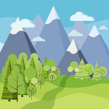 Beau paysage de printemps ou d'été avec des arbres verts, des épinettes, des champs, des montagnes, des nuages dans un style plat de dessin animé. Illustration de fond de vecteur de scène nature.