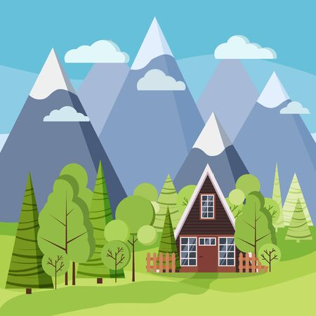 Spring or summer landscape with country a-frame house, green trees, spruces, fields, clouds, mountains, road in cartoon flat style. Vector background illustration. Vecteurs