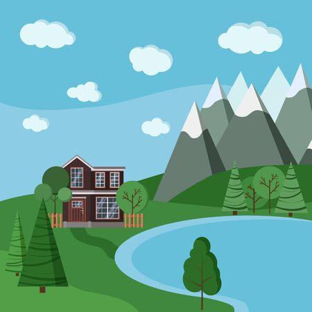 Summer or spring mountain landscape with wooden farm two-storied house with fences, green trees, spruce, clouds, road, lake in cartoon flat style. Vector landscape scene background illustration. Vecteurs