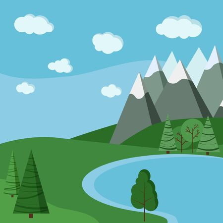 Summer lake landscapes: fields, lake, sky with clouds, mountains, green trees in flat cartoon style. Vector nature scene illustration.