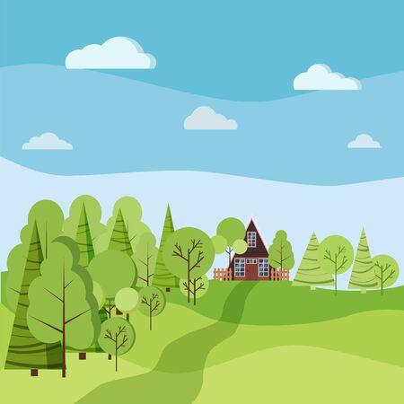 Scène de paysage d'été ou de printemps avec une maison à ossature avec clôtures, arbres verts, épicéas, nuages, route en style cartoon plat. Illustration de fond nature vectorielle.