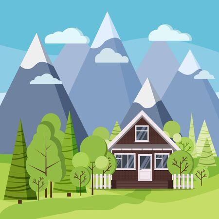 Paysage de montagnes d'été ou de printemps avec maison de ferme en briques avec clôtures, arbres verts, épicéa, nuages, route dans un style plat de dessin animé. Illustration de fond de scène de nature vectorielle.