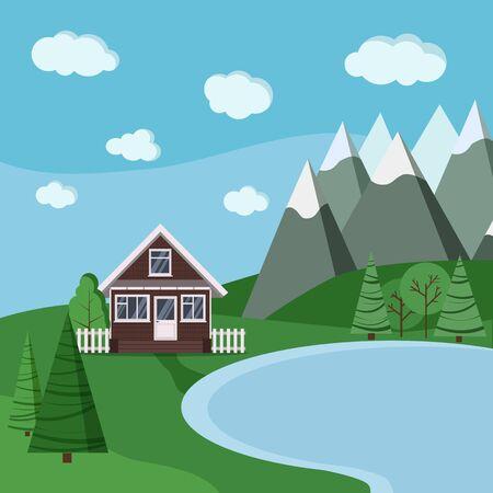 Lac d'été ou de printemps et paysage de montagnes avec maison en briques de ferme de campagne de dessin animé avec clôtures, arbres verts, épicéa, nuages, route dans un style plat de dessin animé. Illustration de fond nature vectorielle.
