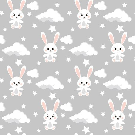 Vector seamless pattern with cute rabbits, clouds, stars on neutral grey color background for boy and girl. Endless texture. Background for web, covers, banners, decoration, elegant children's design