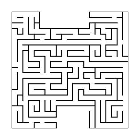 Isolated black maze, labyrinth beginning complexity on white background. Vector illustration.